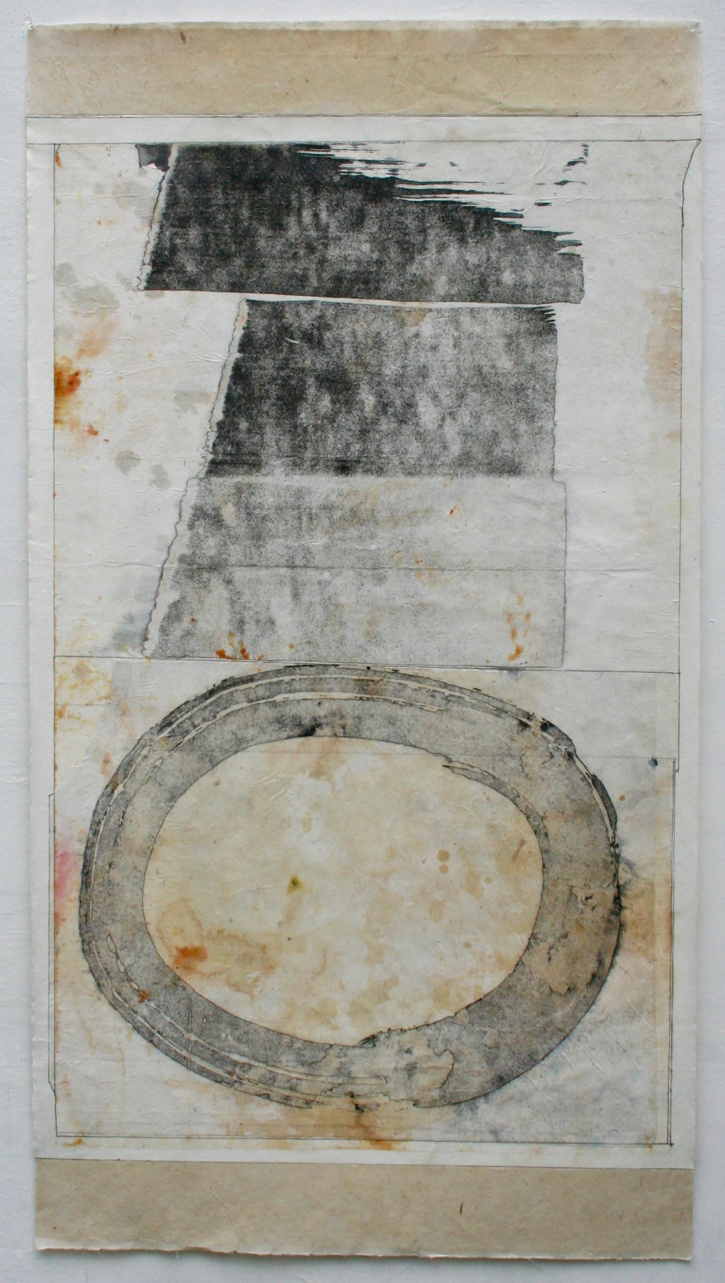 chichten itza  mixed media on Tibetan paper  48 x 25.  sold  .  .  .  .