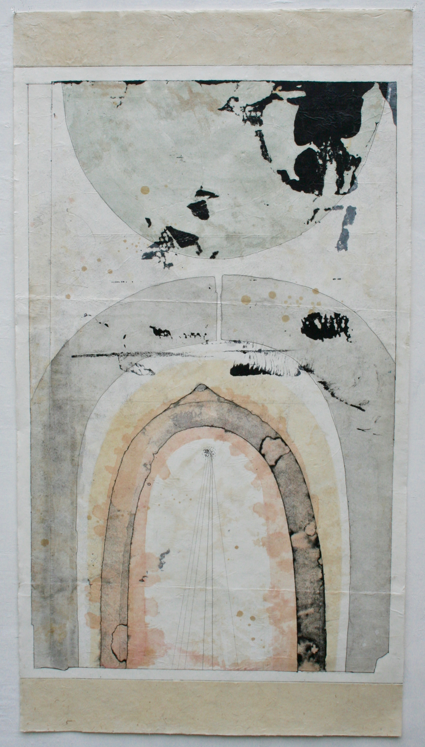 the gate  mixed media on Tibetan paper  48 x 25.5  .  .  .  .