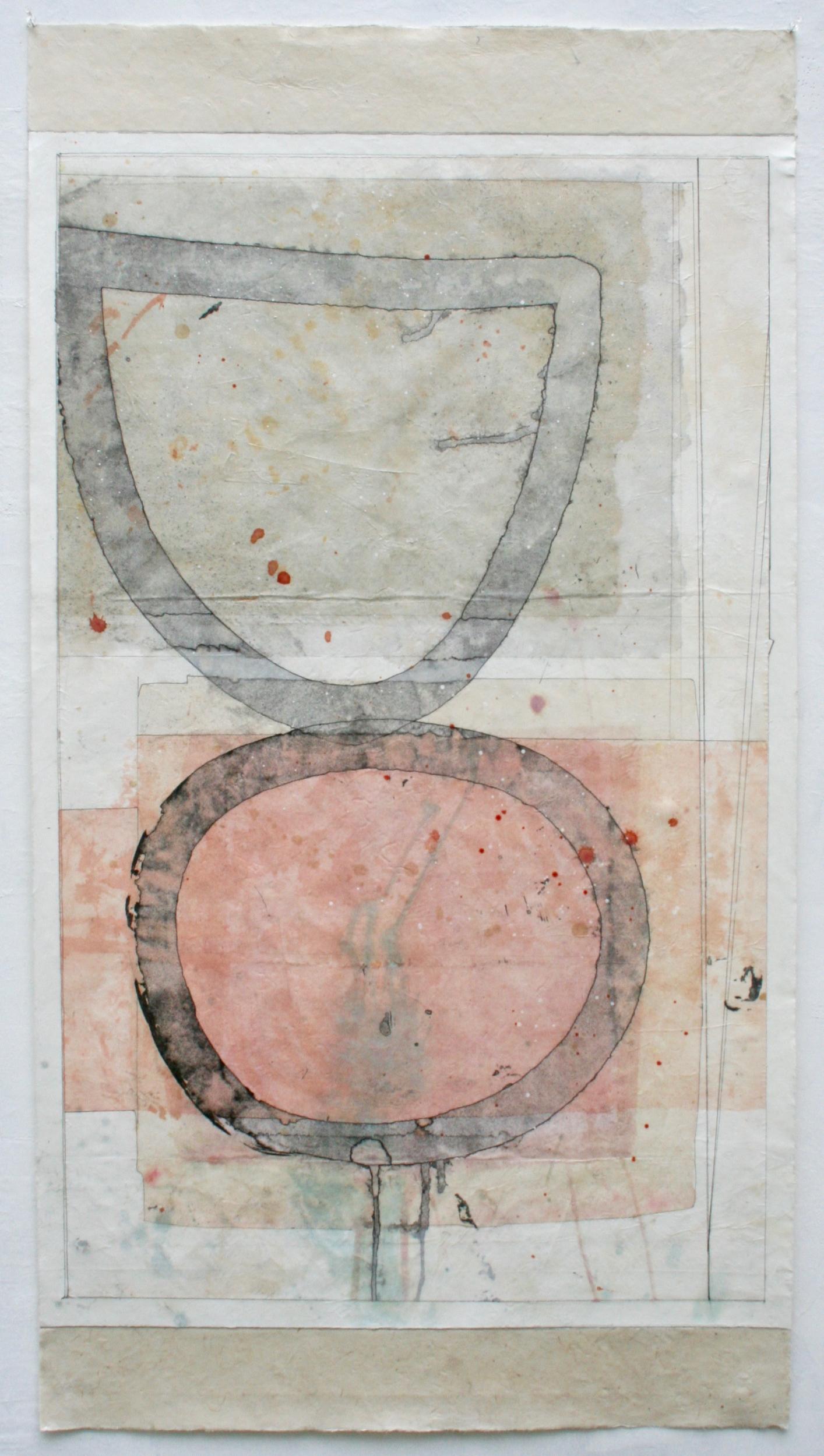 queenie  mixed media on Tibetan paper  48 x 25.5  sold  .  .  .  .