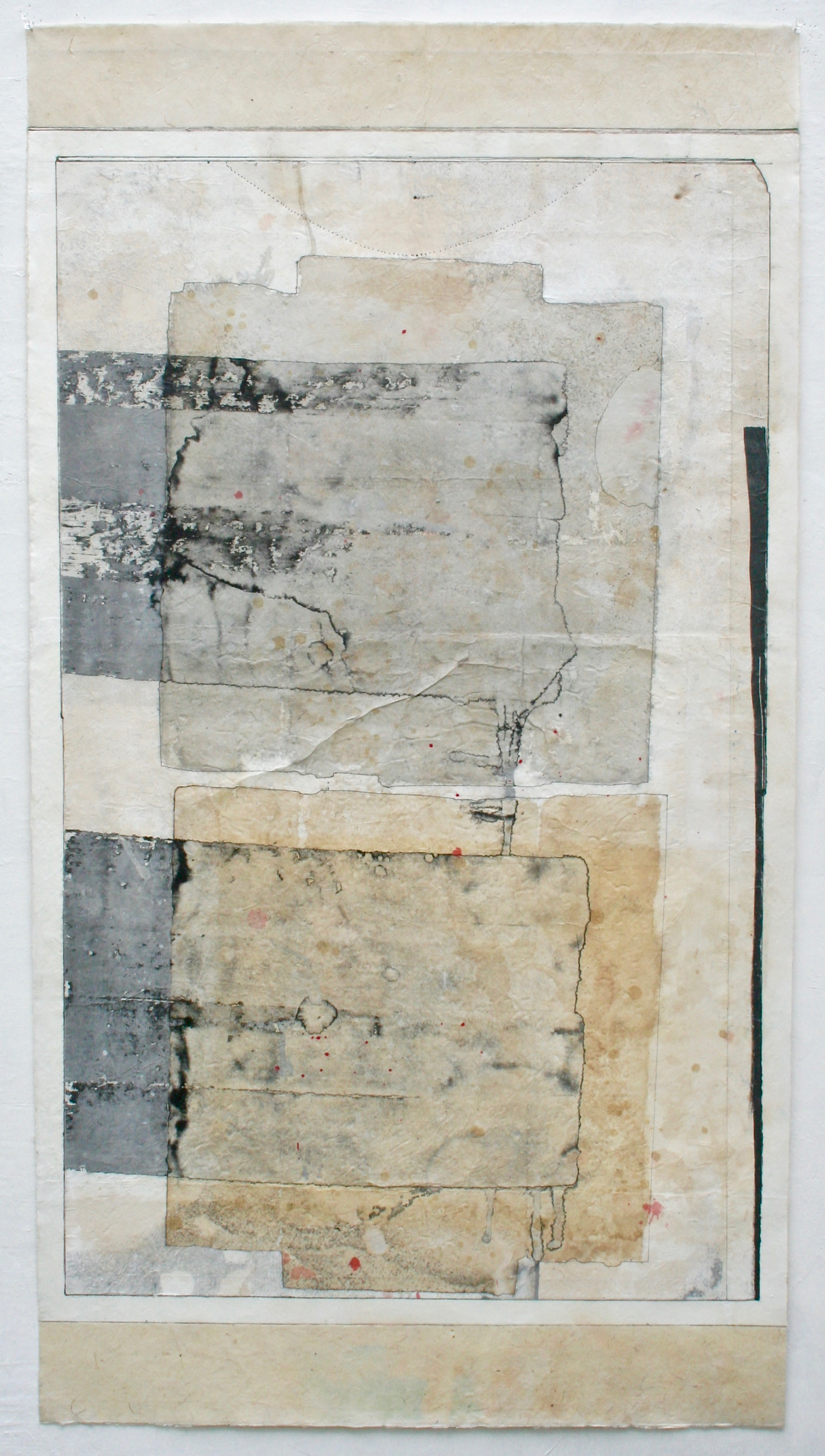 aerial sites  mixed media on Tibetan paper  48 x 25.5  .  .  .  .
