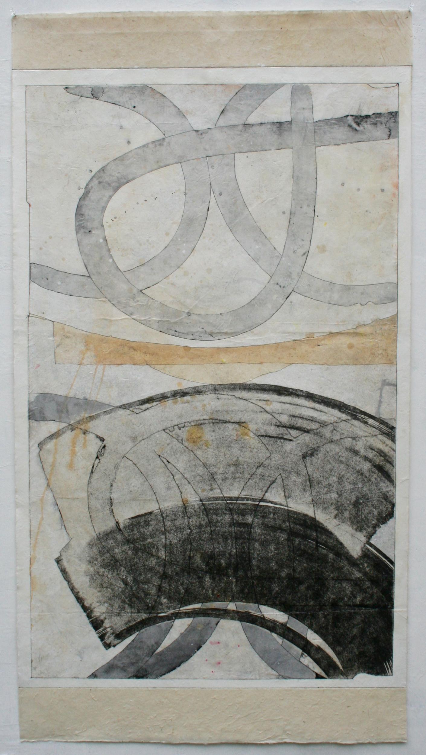 yo yo  mixed media on Tibetan paper  48 x 25.5  .  .  .  .