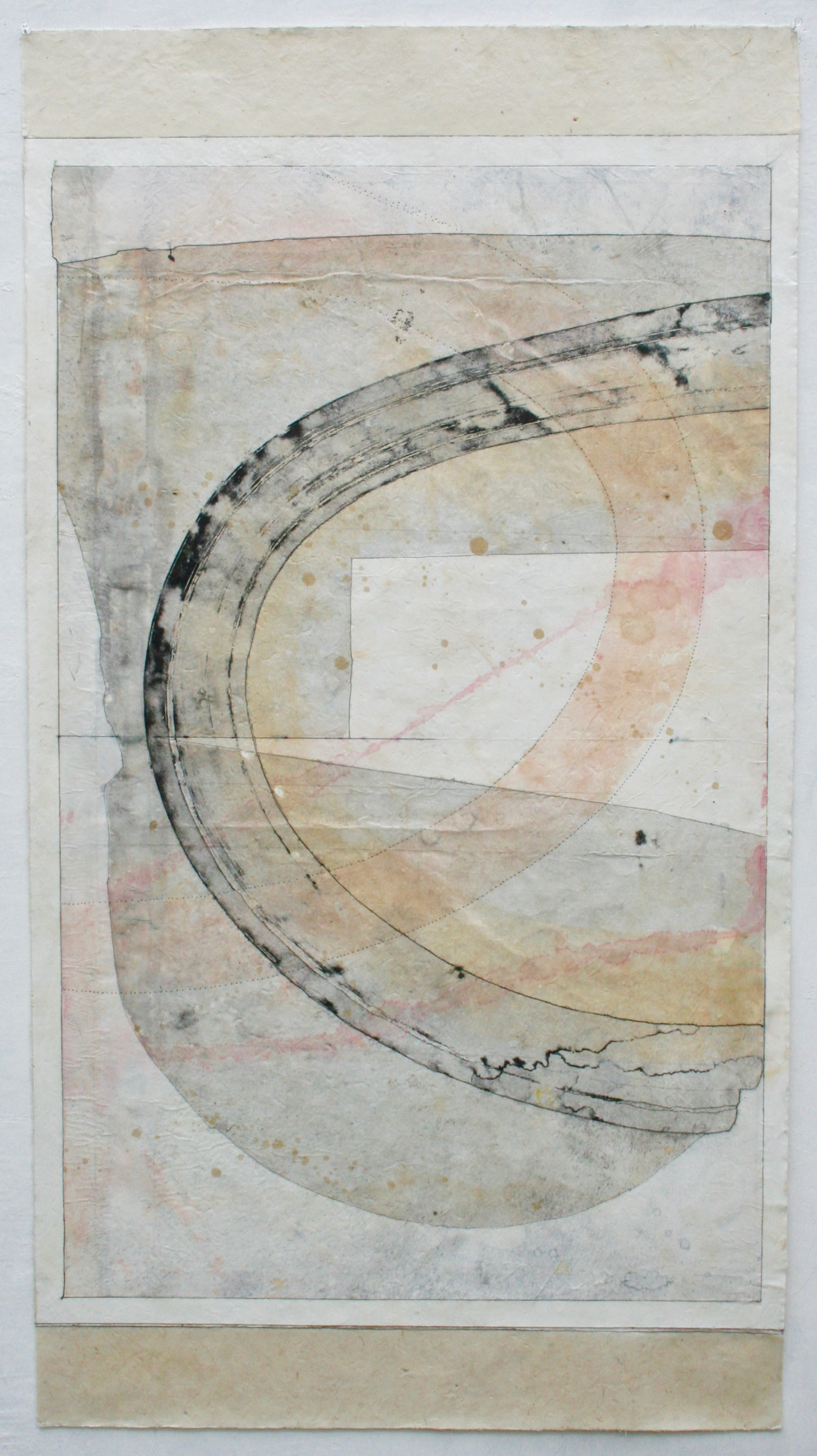 synchrony  mixed media on Tibetan paper  48 x 25.5  sold  .  .  .  .