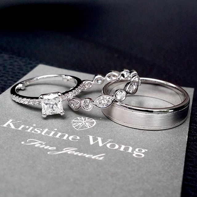 On the job perks include basking in the afterglow of a successful proposal, and then getting to bring dream bands to life! #kristinewongfinejewels #kwfj #weddingbands #sgweddings #custom #diamonds #18k #gold #bands