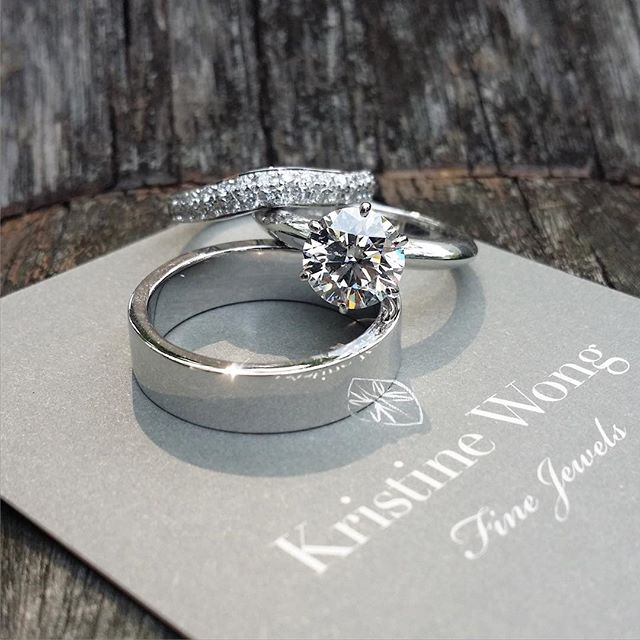 Another splendid trio, for a primary school friend of mine, whom I know will be loved and lavished on for the rest of her life!  #kristinewongfinejewels #kwfj #custom #weddingbands #sgweddings #platinum #diamonds #18k