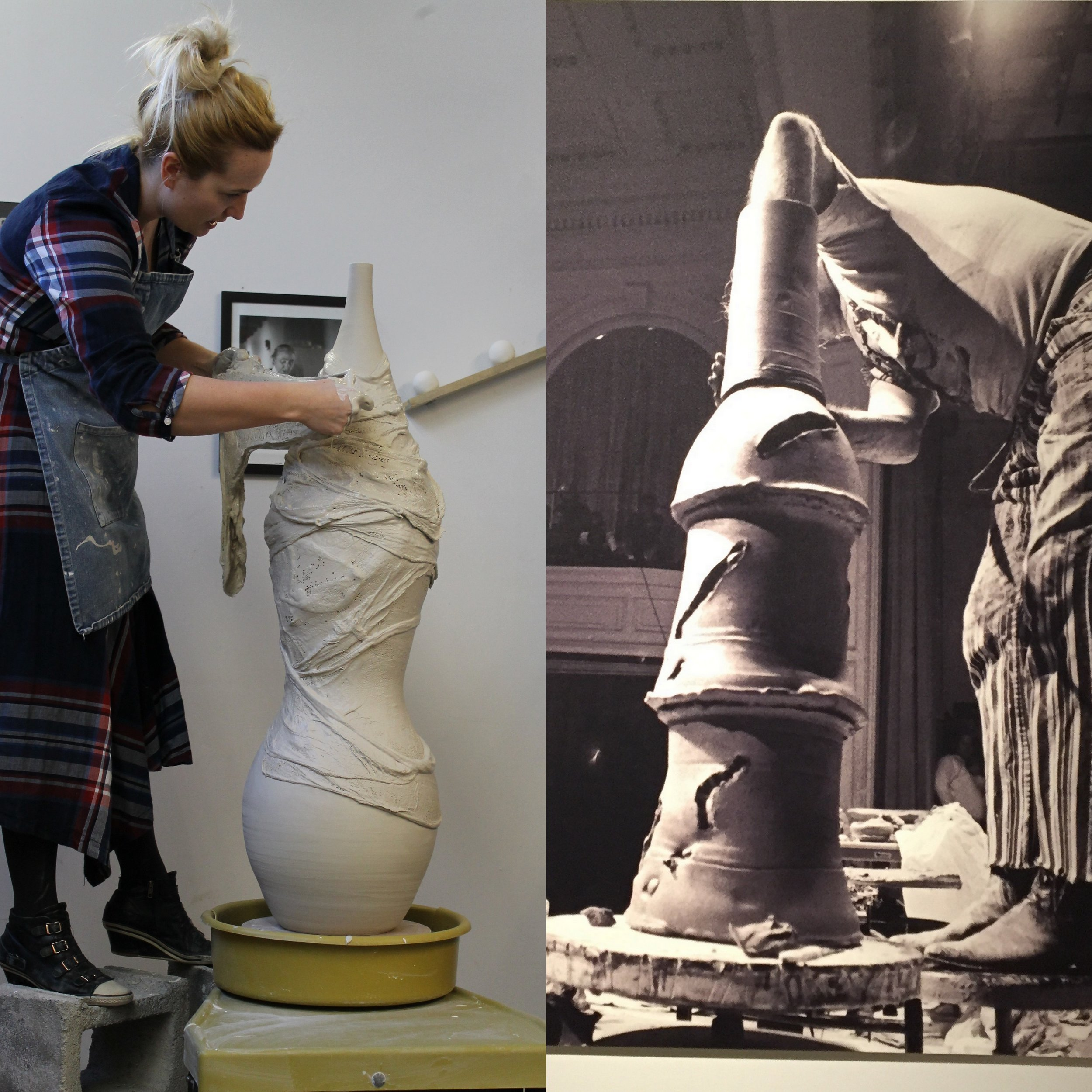 - In response to Voulkos' overt masculinity and brute strength, I threw a compounded curved form that matched his sculpture's height. I contrasted Voulkos' rough attachments by finessing my seam-lines. I opted to use finer porcelain than his iron-specked stoneware. Where Voulkos gouged his forms, I swaddled mine.