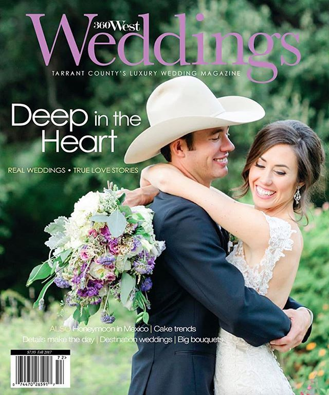 ✨✨DREAM COME TRUE✨✨ Sweet Laura's wedding made the cover of @360weddings. 💜 This day for my dear friend was so special! I remember the details so vividly. It was a rare joy to get to do the flowers and also get to attend the wedding as a guest. So much fun!! ・・・ photography @ardenpruchaphotography planning @treasuredheartevents  florals @foxandthefleur  hair/mu @pencilandlace  venue @fortworthbotanicgarden