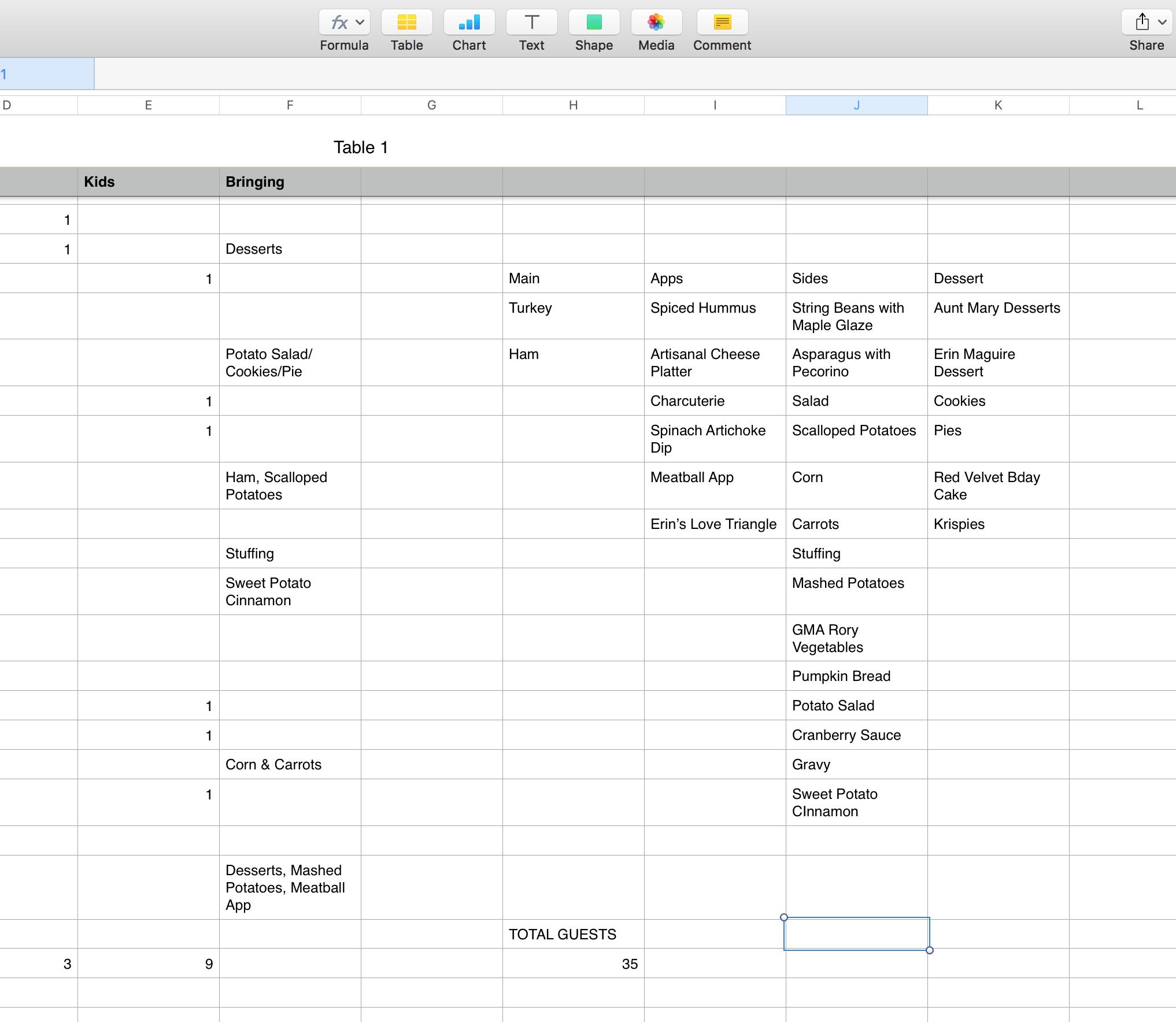 Figure 1: Detail of Thanksgiving 2015 Spreadsheet
