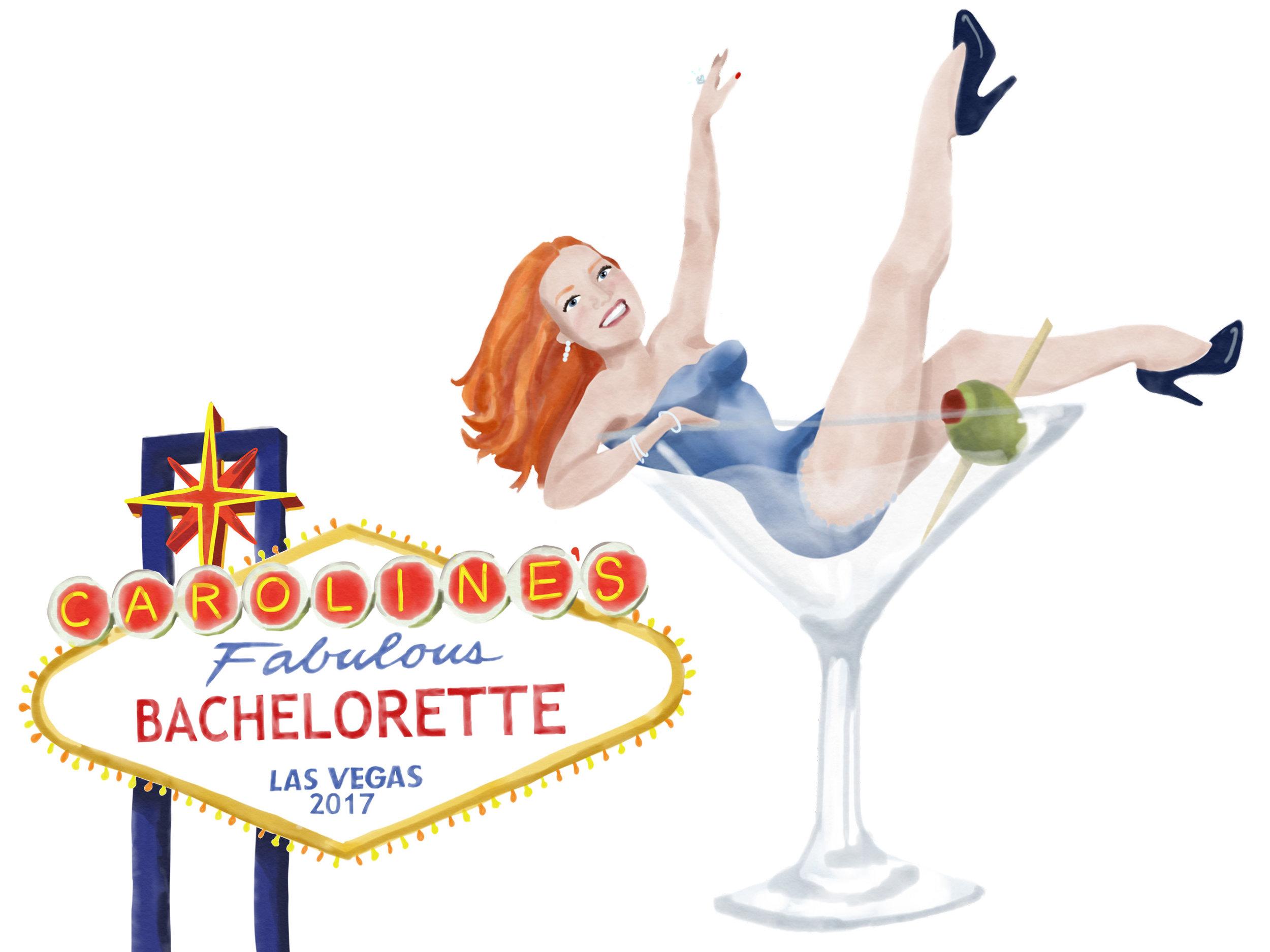Bachelorette portrait & emblem for souvenirs