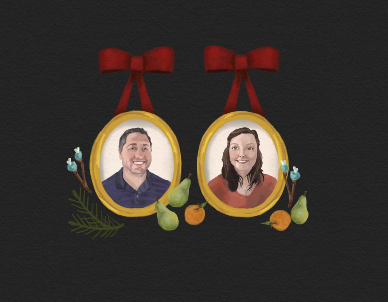 Custom portrait for holiday card