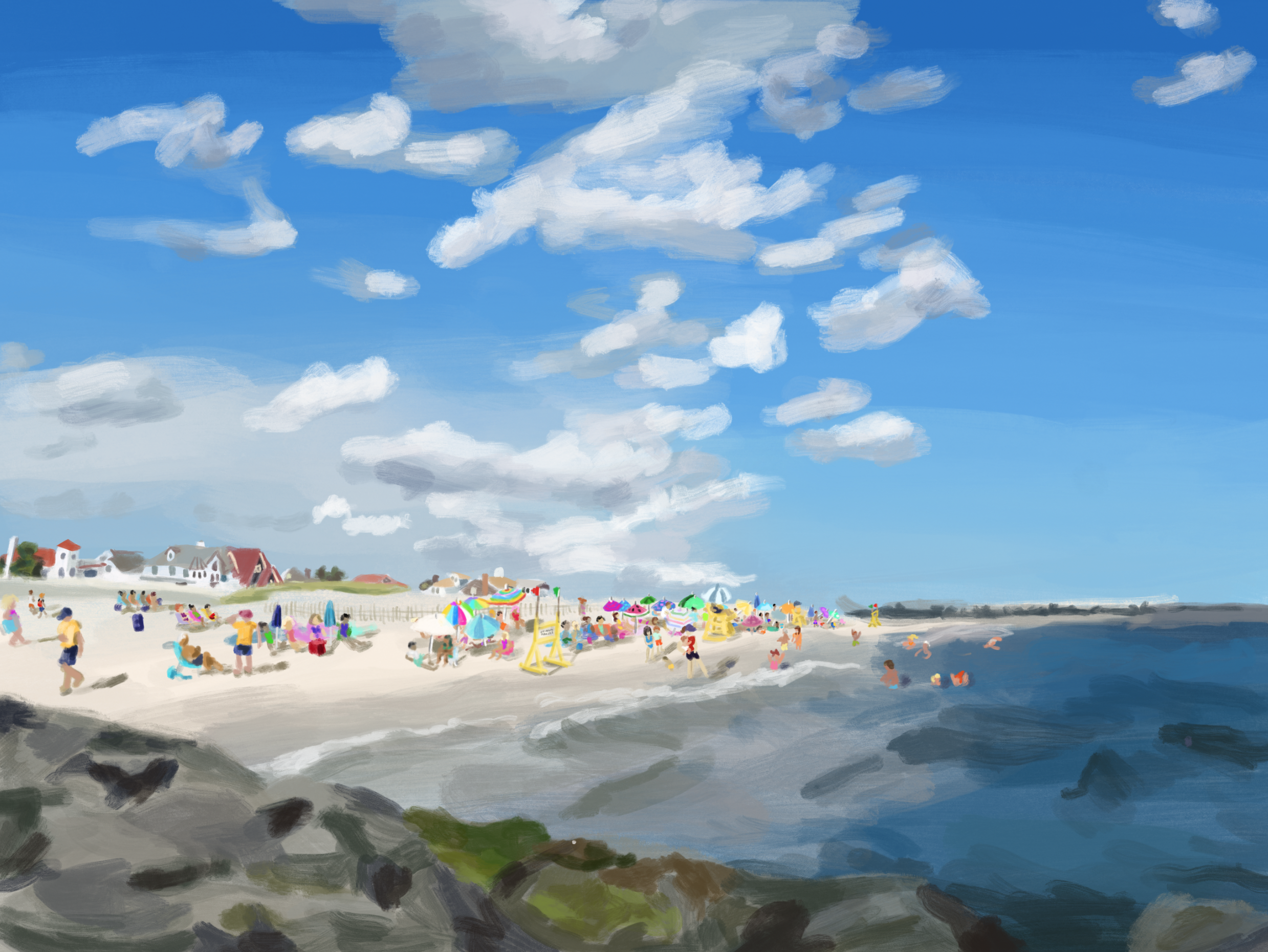 Commissioned landscape of Point Lookout, New York
