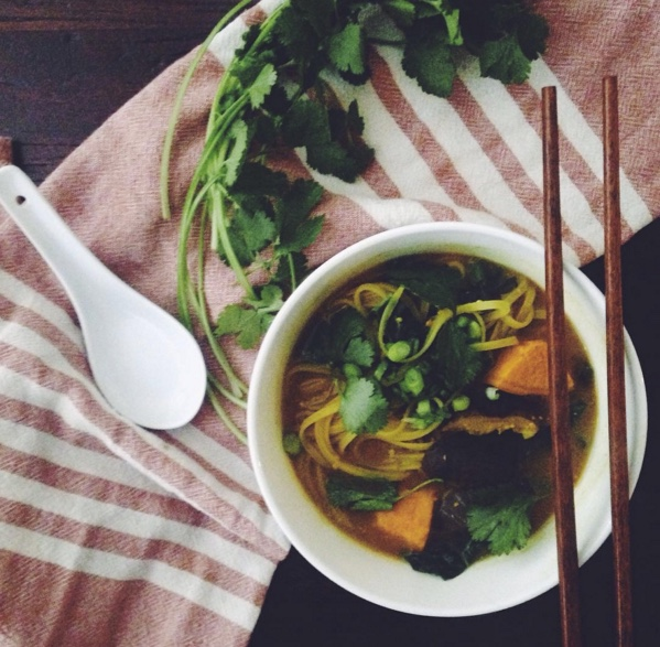red miso noodle soup with shiitakes, kale, and sweet potato