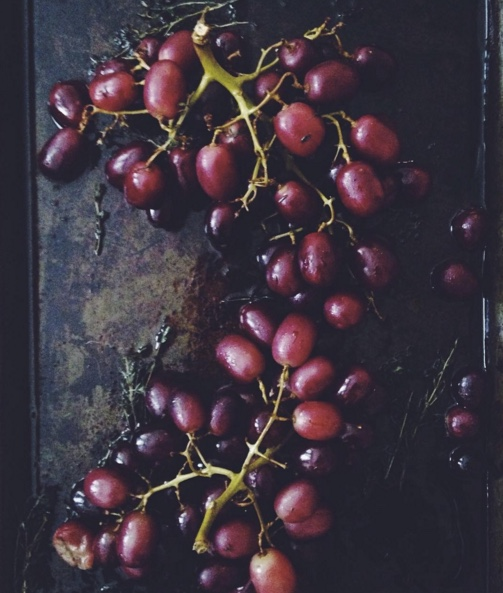 savory roasted grapes with thyme