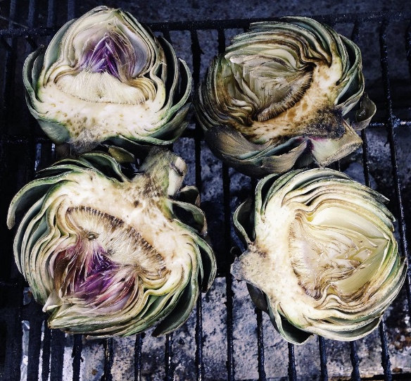 smoked artichokes infused with garlic and white wine