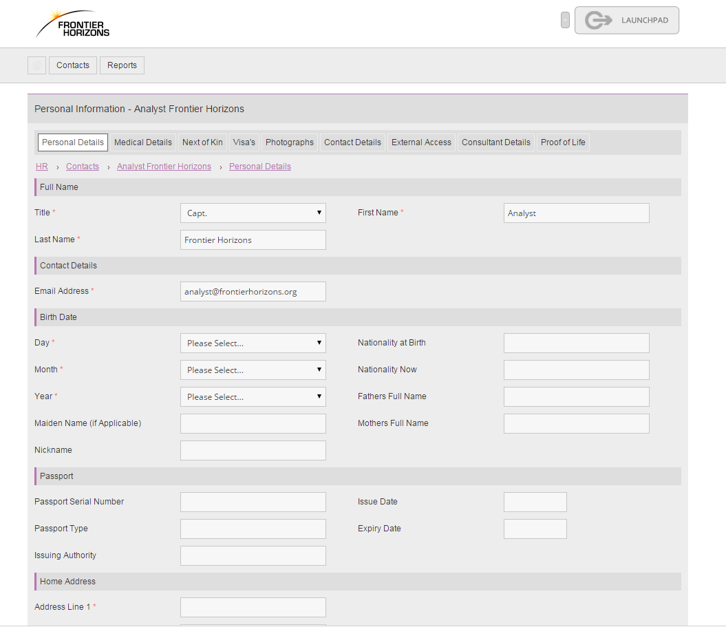 HR Contact Form