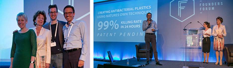 Tech All Stars winners with European Comm. V.P. Neelie Kroes           Parx Plastics CEO Michael van der Jagt presenting during Founders Forum  © Christan Ihrybauer