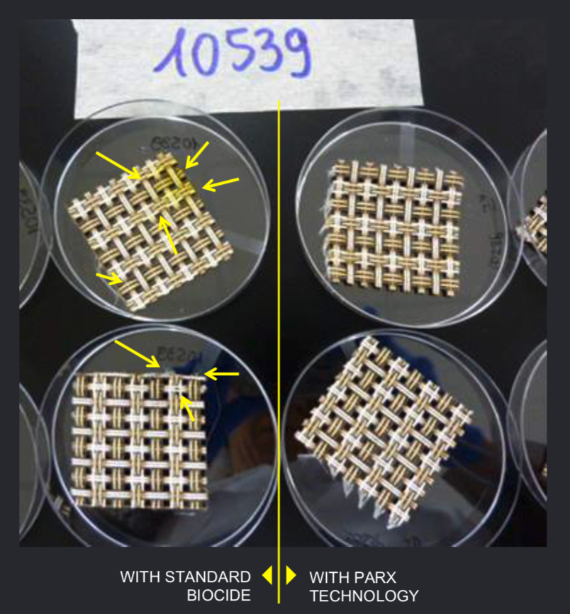 ISO 846 test results comparing the previously used biocide with the biocompatible technology of Parx