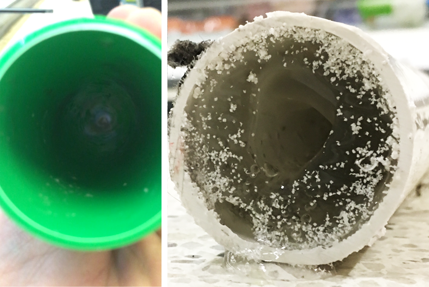 LEFT: a pipe with Parx technologies after 12 months in a refrigerator drain system. RIGHT: a standard pipe after 6 months in the same system.