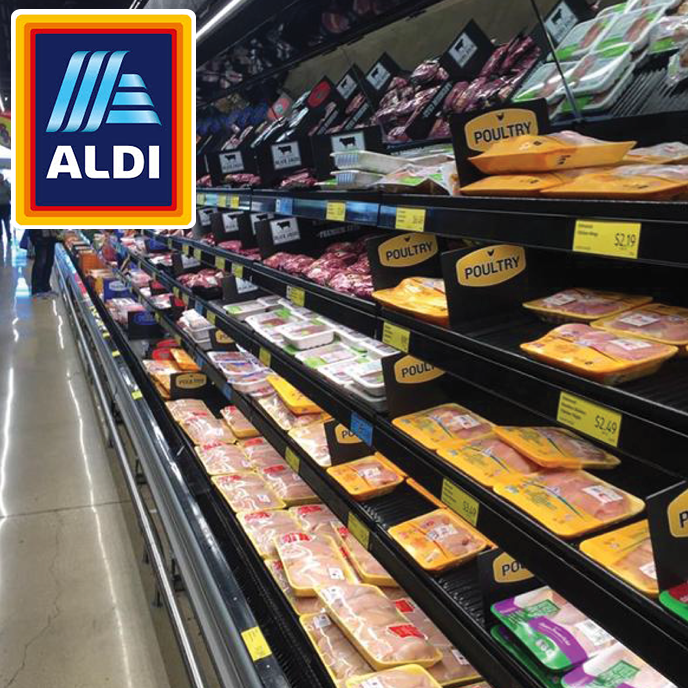 Aldi US store fitted with Alco Designs shelf liners with Parx technology for the poultry and fresh meat division.