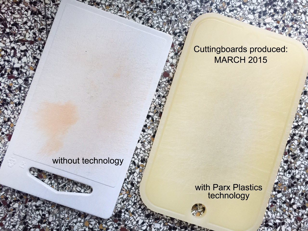 A cutting board without technology compared to a cutting board with Parx' technology, used in the same household.