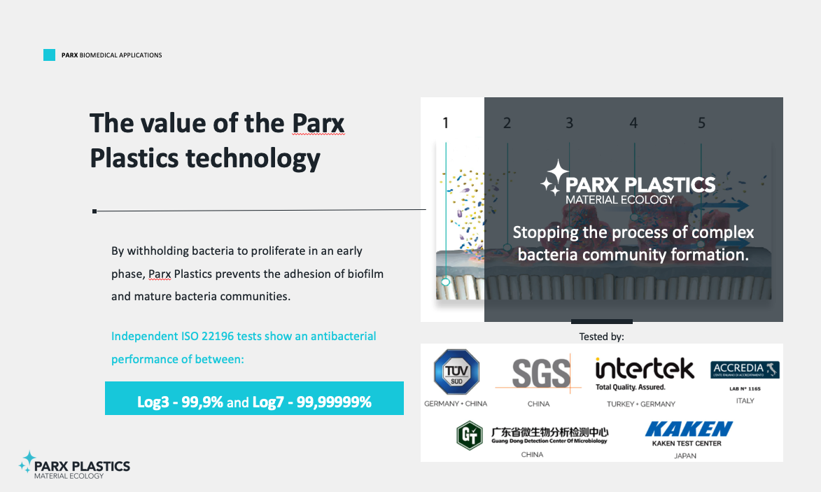 The Parx Plastics technology (patented or patent pending in +40 countries) prevent biofilm and bacteria adhesion creating a surface with an highly effective and broad spectrum antimicrobial performance of 99,9% to 99,99999%.