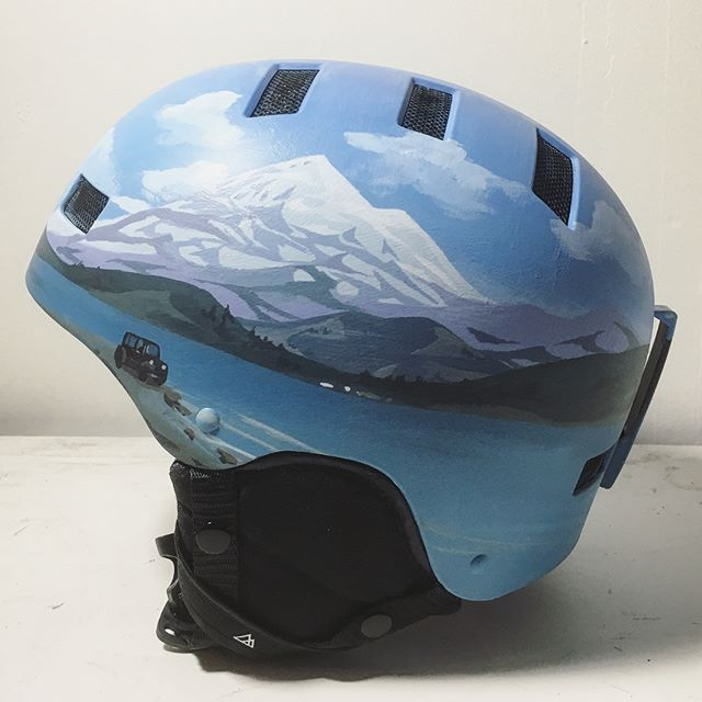 "A custom snowboard helmet with ""Mt. Baker, featuring a Jeep and and a surfer, but small"". One of the many special requests we've been working on this month."
