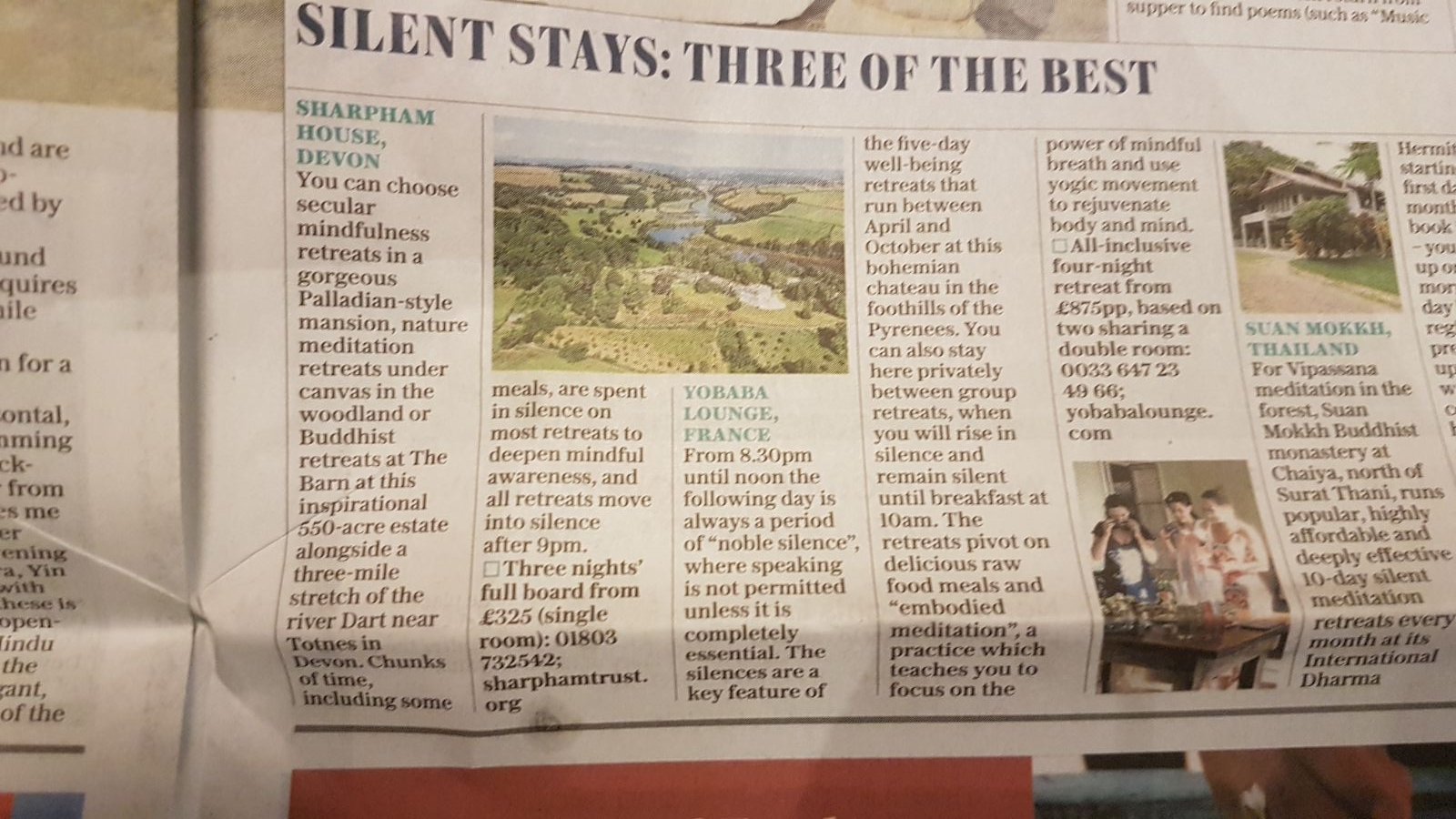 Yobaba Lounge Silent Stays Three of The Best in The Sunday Telephraph.JPG