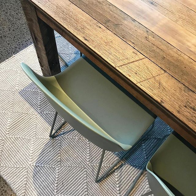 A bespoke reclaimed timber table made for my client by @upcycledwooddesigns, it looked great teamed with these lovely @muutodesign chairs through @arrival_hall and the @armadilloandco rug.⁣⠀ .⁣⠀ .⁣⠀ .⁣⠀ #reclaimedtimbertables #diningroomdesign #muttochairs #armadillorug #interiordesign #interiordecor #furniture #dustygreenchairs #recycledtimberfurnituremelbourne