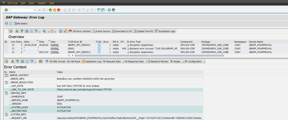 Figure 6: Error log SAP NetWeaver Gateway
