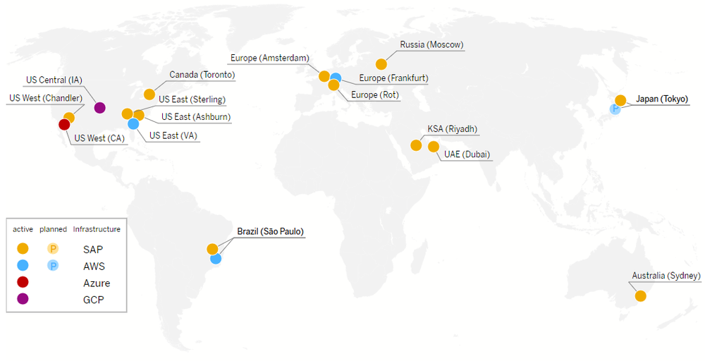 Figure 7: SAP Cloud Data Center Locations