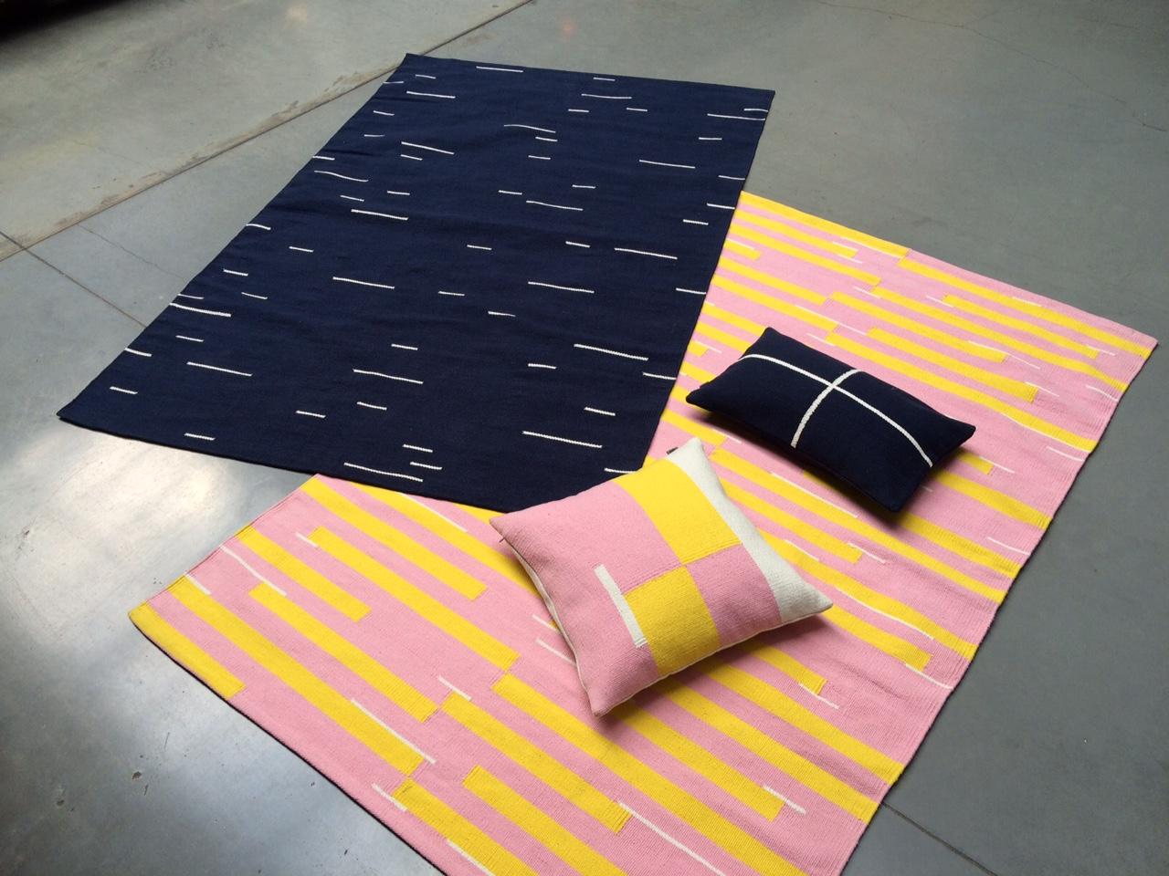 Jama-khan rugs in pink and blue - 120 x 180 cms Jama-khan square cushion - 45 x 45 cms Jama-khan rectangular cushion - 30 x 50 cms. All 100% handwoven cotton