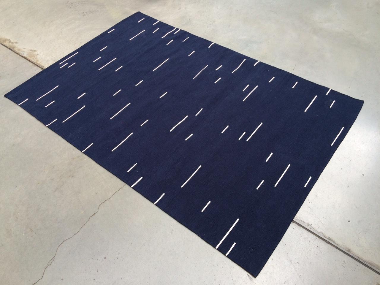 Jama-khan rug in blue - 120 x 180 cms 100% handwoven cotton