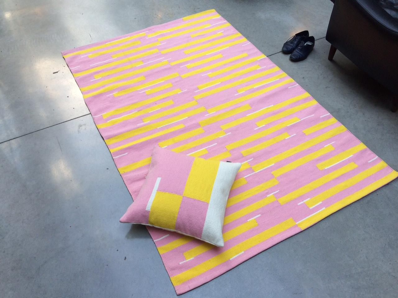 Jama-khan rugs in pink - 120 x 180 cms Jama-khan square cushion - 45 x 45 cms 100%handwoven cotton