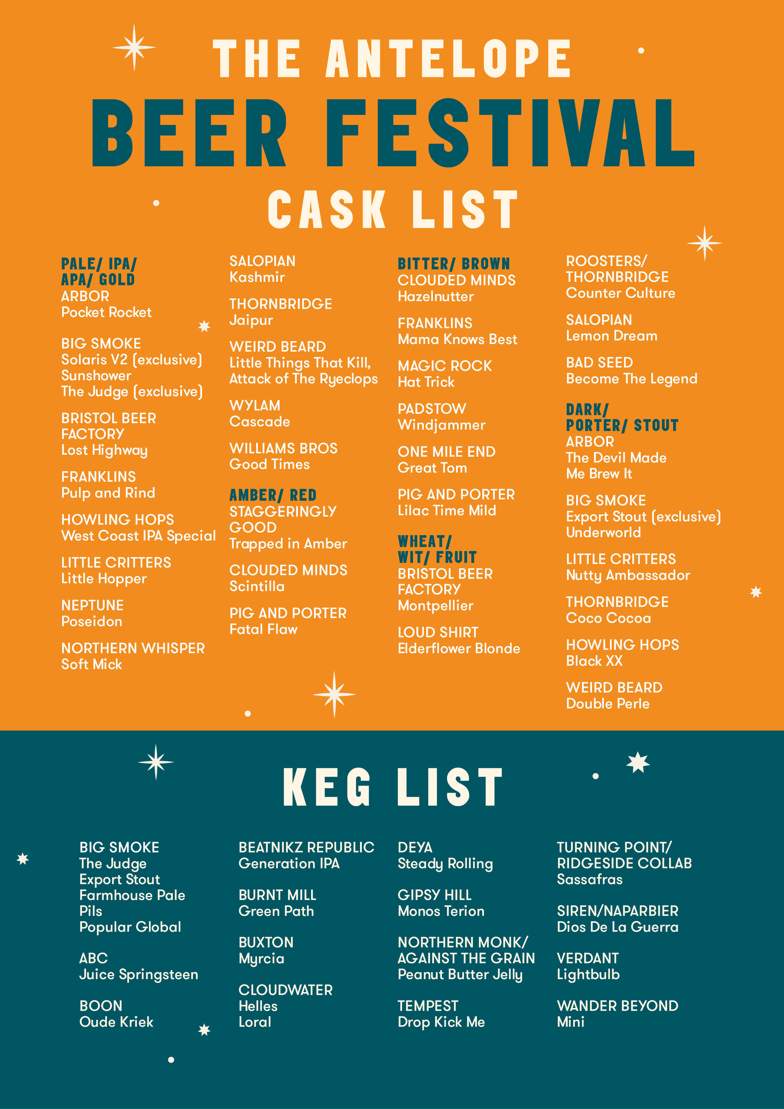 Beer List – May Bank Holiday Ale & Cider Festival
