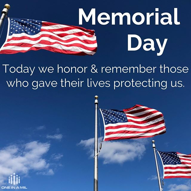 In honor of those who have selflessly given and valiantly served our nation, we THANK YOU! Hug your loved ones a little tighter today and be present in the moments we are so lucky to have! #grateful #memorialday #sacrifice