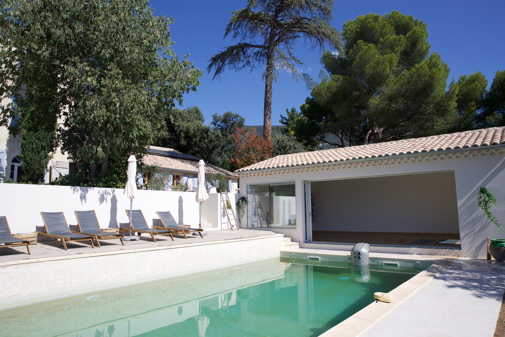The pool and yoga studio at Maison 10 in Provence.