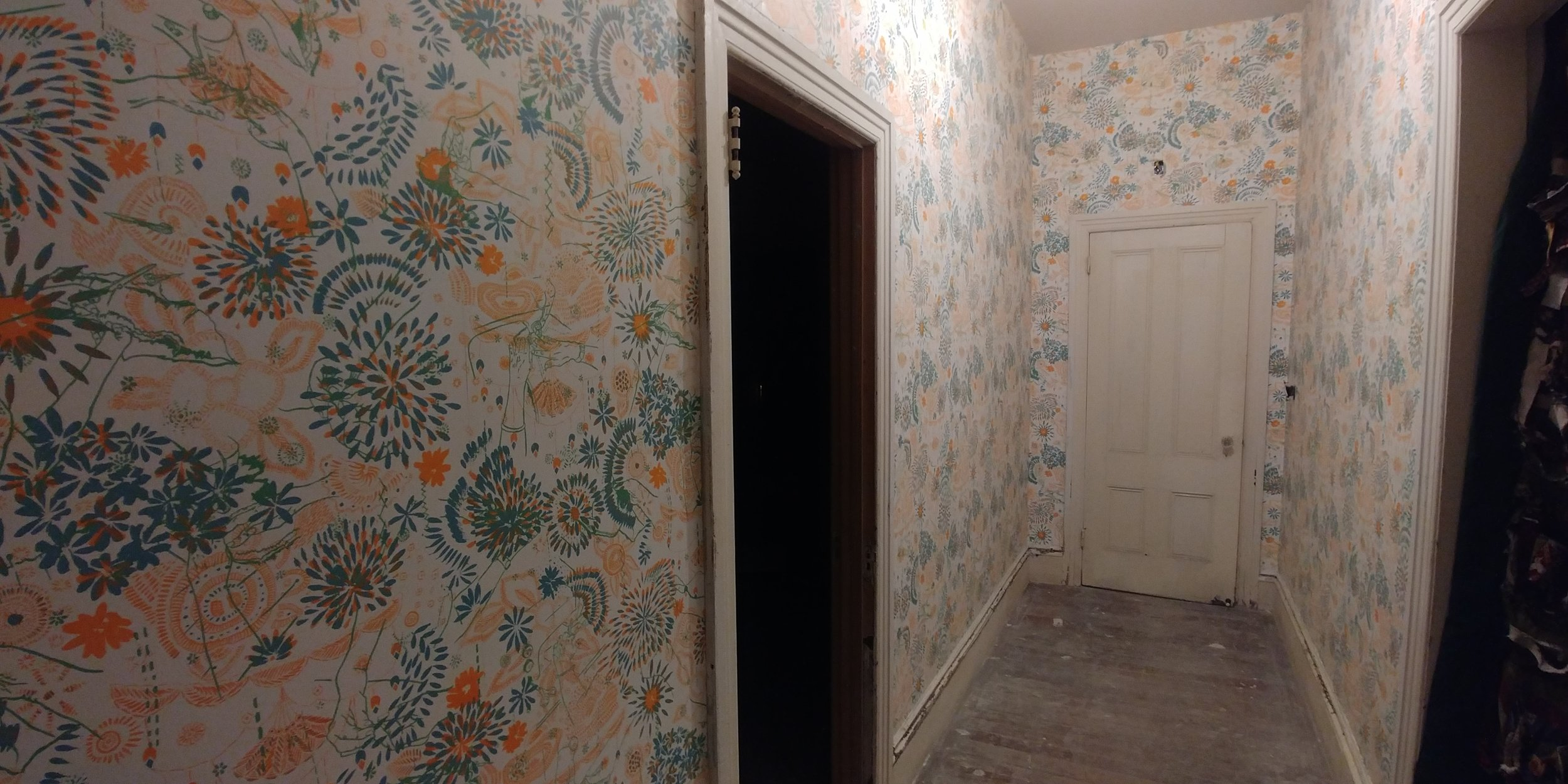 Installed in a hallway at the historic Tirocchi Sister's dress makers house  Wedding Cake House  being restored by  Dirt Palace Projects.  514 Broadway Providence, RI