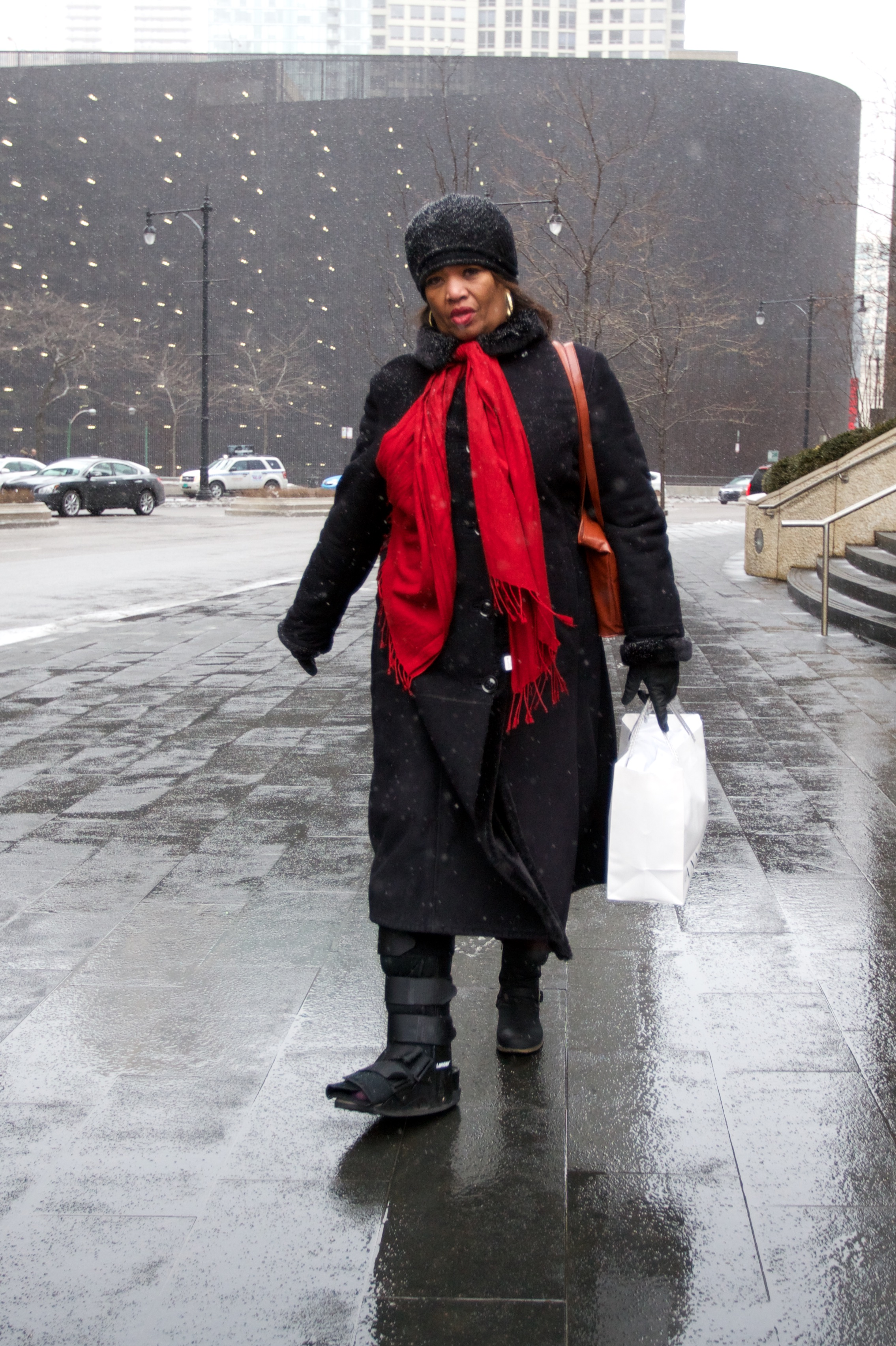Braving the snow on north wabash st.