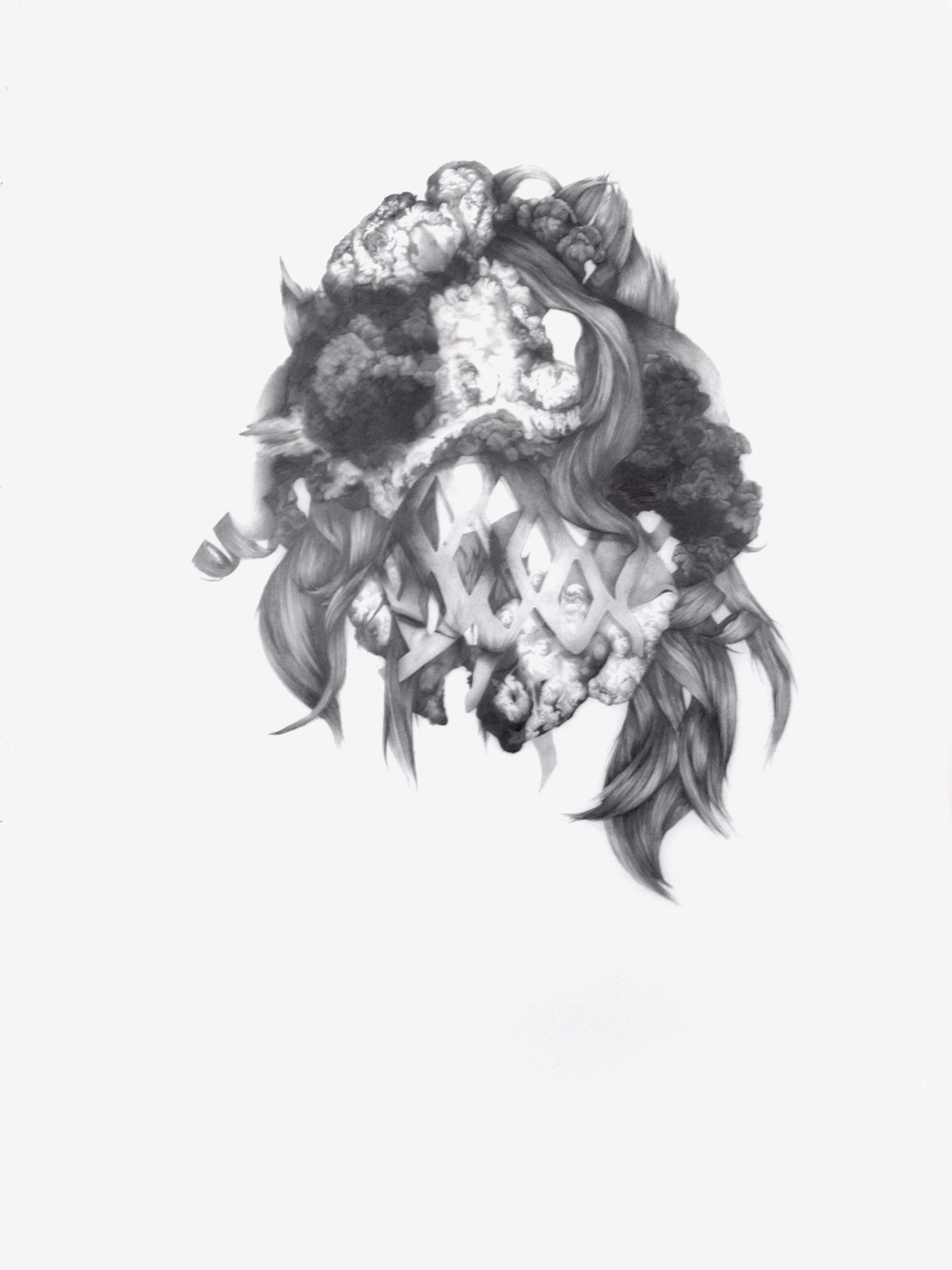 """Amalgamation #1 , Graphite on mylar, 50""""x39"""", 2017"""