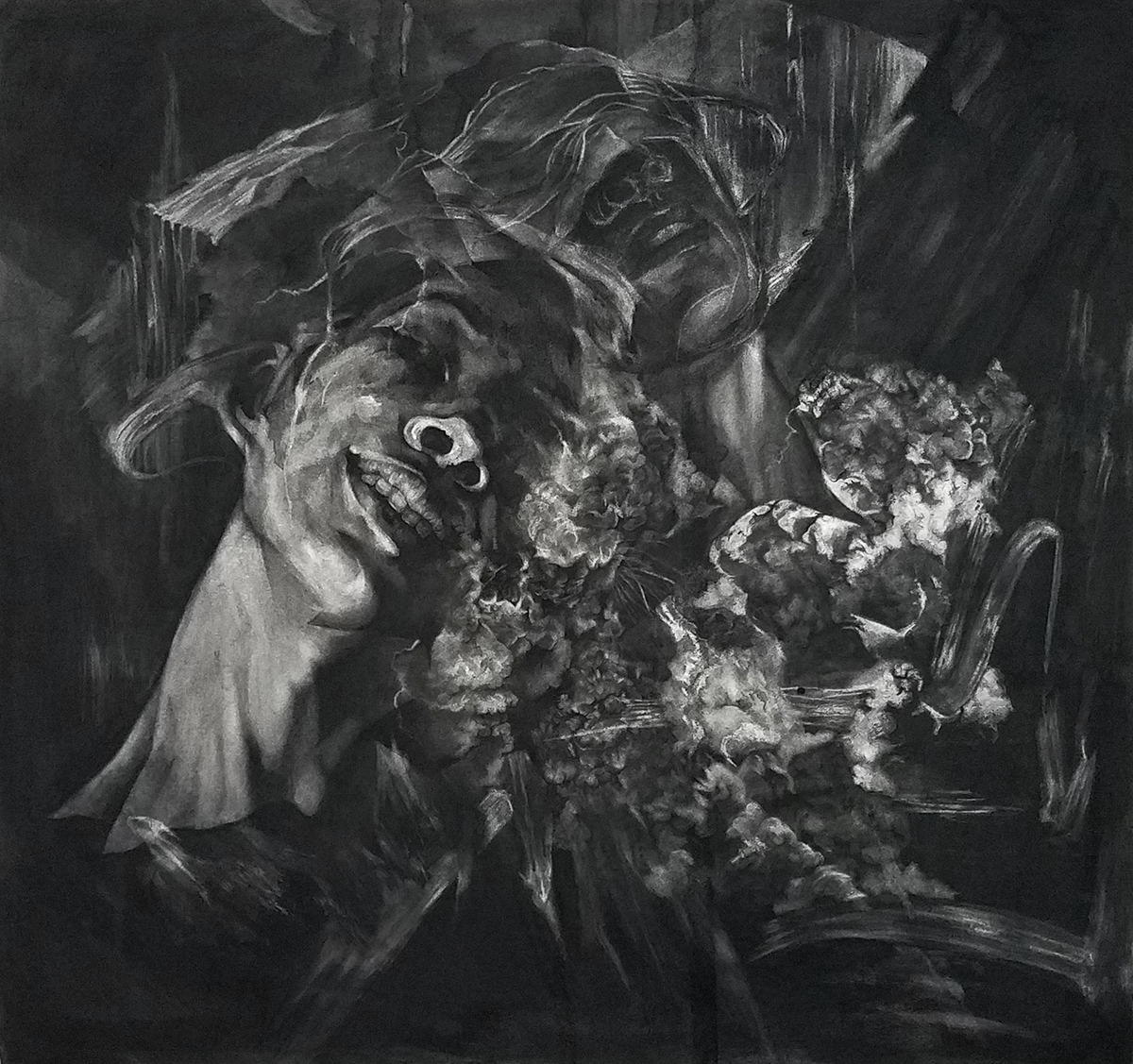 "Doppel , Charcoal on paper, 43""x42"", 2017"
