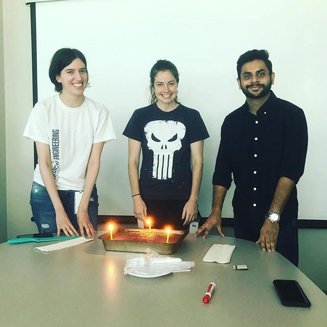 Three birthdays in 9 days! Happy birthday Jasmine, Catherine, and Rahul! And thanks Christine for baking the cake!