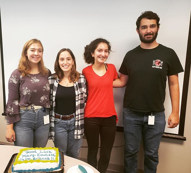 Yesterday we had cake to say goodbye to and celebrate our awesome lab tech, Mary, and visiting under graduate summer students, Chloe, Diana, Briana, and Emmett. Good luck everyone!