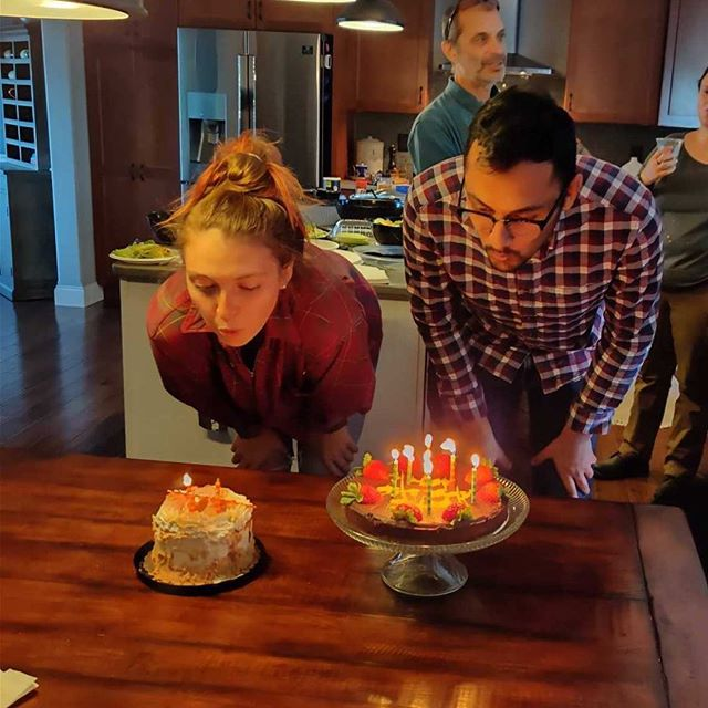 Celebrating two more fall birthdays! Happy birthday Katie and Saurabh! Who do you think blew out their candles first?