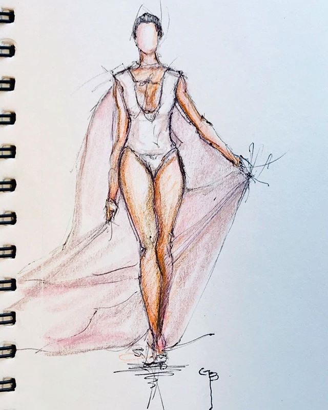 I am glad to team up with @gbsketch_ for another season of Miami Swim Week @paraisomiamibeach #paraisomb #illustration #fashion #runway #mikhailveter #teamwork #miamiswimweek #swimweek #swimweekmiami #model #art #sketch #runwaynonstop