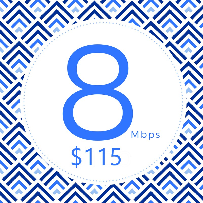 Provides the speed needed to keep you going, so you don't have to.     • Multiple Users  • Online Gaming  • Stream HD Video  • Up to 8Mbps↓ 1.5Mbps↑  • Unlimited Data  • T.E.C. Plan