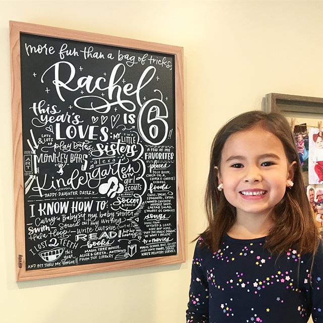 My oldest daughter turned 6 over the weekend! Every year, I like to capture all her info in a chalkboard, and we can look back and see how she's changed and grown over the years. But the kids aren't the only thing being captured in these boards!! It's also fun to see how my own lettering has improved over the last 6 years with more practice. Which board is your favorite so far? Do you like the color or black and white? What about my sweet girl—can you believe how much she's grown up in the last few years?! 😭