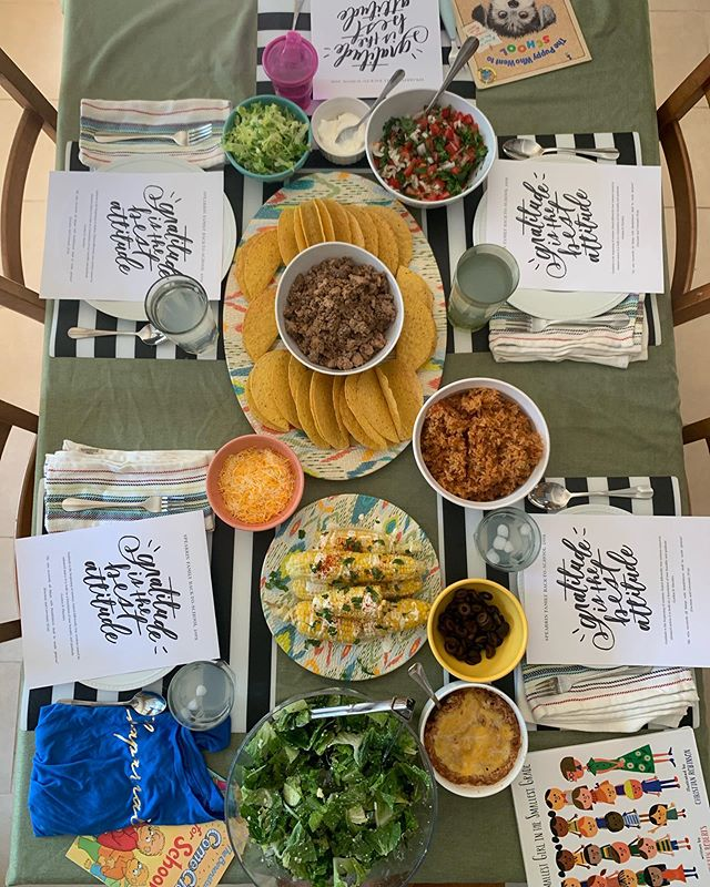 "Last night, we had our annual Back-to-School family dinner. Tacos are a Spearrin Family favorite, so we decided to have that and added Spanish rice, Mexican street corn and a Mexican Caesar salad. ⁣ ⁣ We wanted our girls to focus on gratitude this year, and landed on ""Gratitude is the best attitude"" for our theme. The girls each got a school spirit shirt and a new book. ⁣ ⁣ During dinner, we discussed what it means to be grateful and read a few quotes and scriptures to reinforce it. This year, I'm adding a weekly component. I'm printing a poster size print of the theme and hanging it in the kitchen. Every Tuesday, we are going to have GratiTuesdays, where the girls will tell us something they're grateful for this week, and we'll write it on the poster. At the end of the year, we will clearly see all that there is to be thankful for! ⁣ ⁣  #gratitude #gratituesday #attitudeofgratitude #calligrapher #calabasas #backtoschool #backtoschooldinner #tacotuesday #backtoschooltheme"