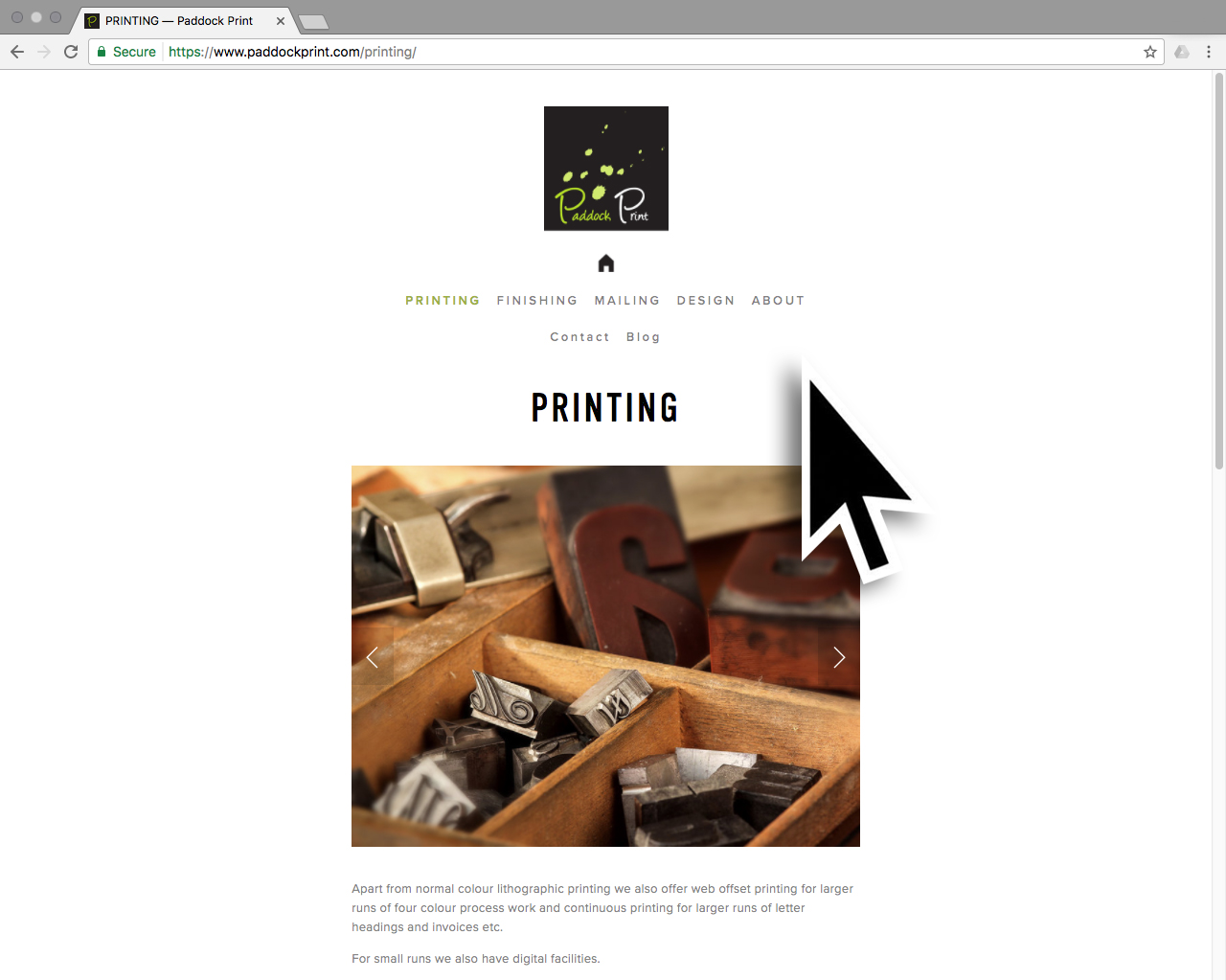 Paddock Print Website Design