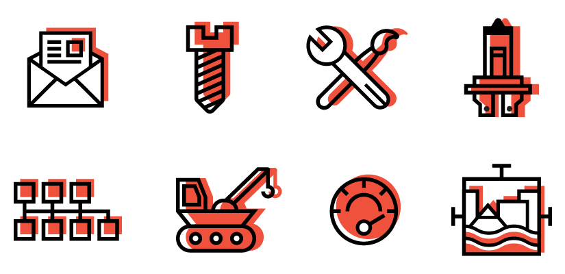 Icon Set (left to right): Top Row: Contact, Untitled, Brand Management, Research & Development, Bottom Row: Partnerships and Development, Buildout, Project Management, Memphis