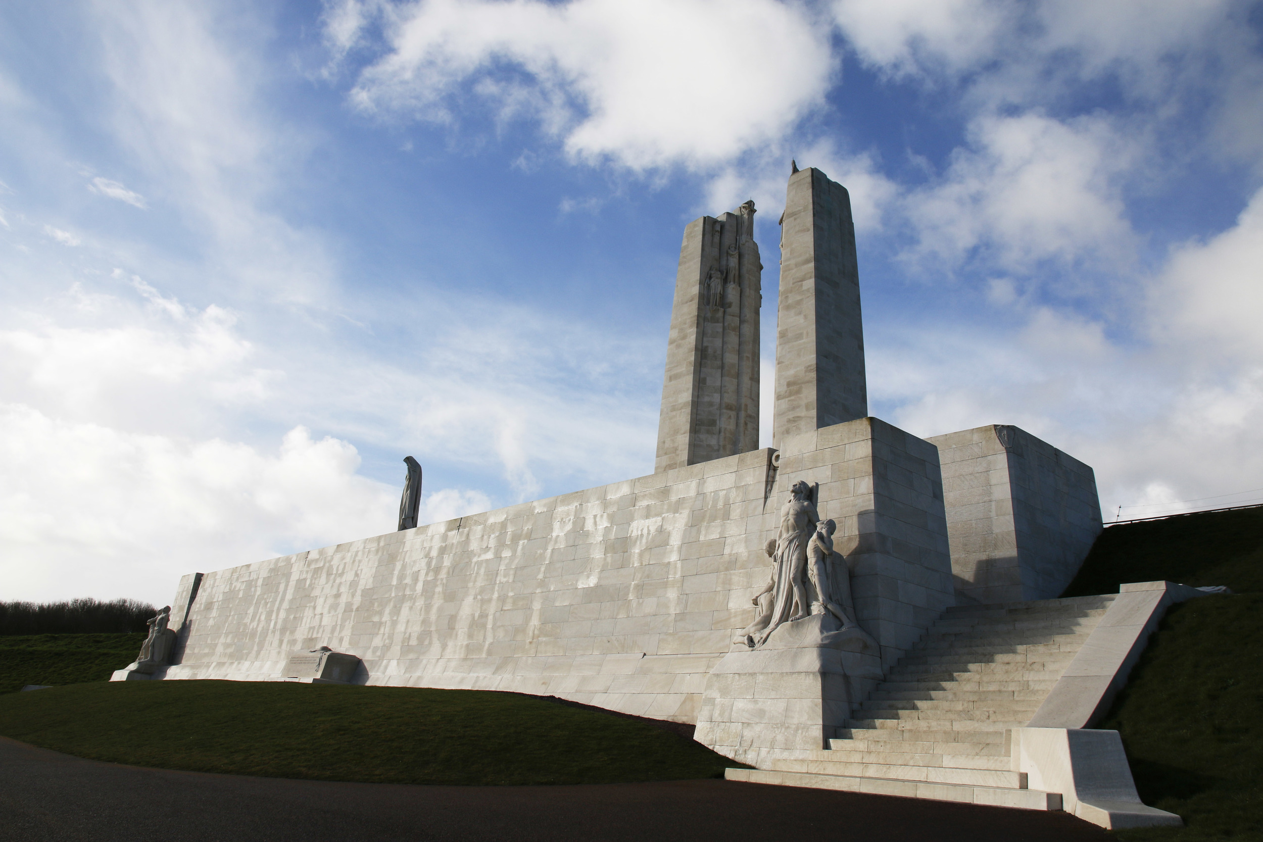 Vimy Ridge memorial. The names of the fallen are all inscribed on the wall.