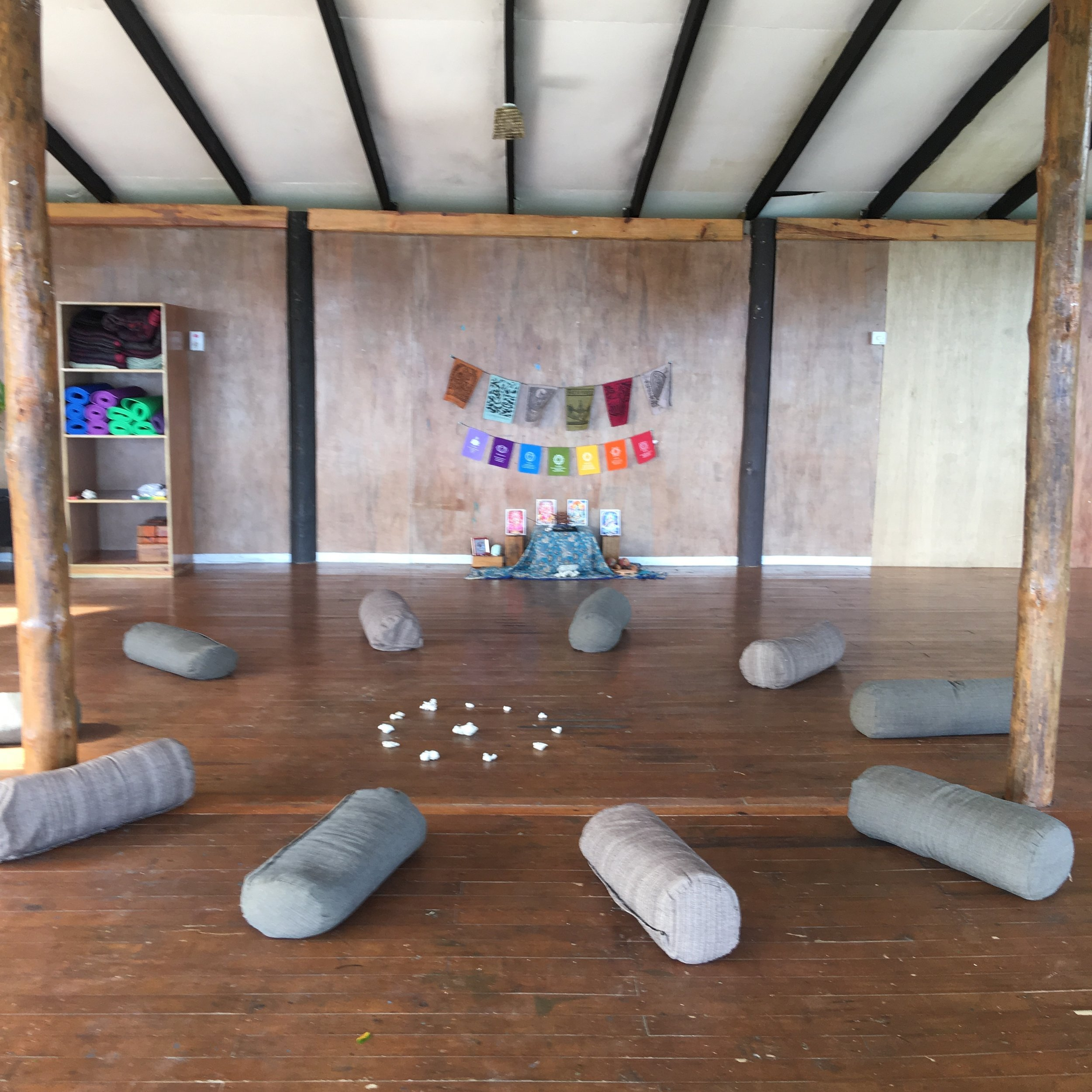 Setting up the sacred circle at my 2nd Facilitating Program with Sadhana Yoga School in Savusavua, Fiji